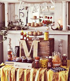 adore the sweet details of this honey themed baby shower put on by the wonderfully, creative minds of the Beautiful Mess team Baby Shower Parties, Baby Shower Themes, Baby Boy Shower, Shower Ideas, Baby Showers, Party Like Its 1999, Bee Party, Party Party, Displays