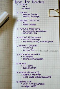 Bullet journal list ideas for crafters, knitters, crocheters. Use a bullet journal to organize your crafting and hobbies.