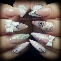 "Disney's ""Frozen"" Inspired Stiletto Nails With Glitter and Bows"