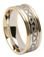 Engraved Celtic Knot Ring - Silver with 10K Gold Trim