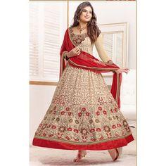 Sayali Bhagat Georgette Beige Semi Stitched Anarkali Suit by fabfiza