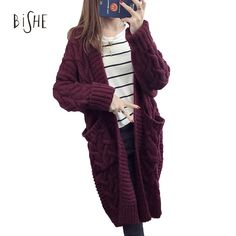 BiSHE Long Cardigan Female 2017 Autumn Long Sleeve Plus Size Solid Cardigan Women Sweater Pockets Women Knitted Jacket Tops  Price: 19.10 USD