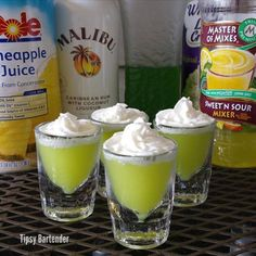 SCOOBY SNACK SHOTS 1/2 oz (15 ml) Coconut Rum 1/2 oz (15 ml) Creme de Bananas 1/2 oz (15 ml) Melon Liqueur 1/2 oz (15 ml) Pineapple Juice 1 1/2 oz (45 ml) Whipped Cream