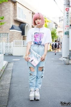 Phell on the street in Harajuku wearing a The 1975... | Tokyo Fashion