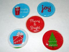 Christmas Themed Magnets Set of 5 by CloudNineDesignz on Etsy, $7.50