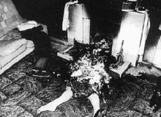 """Example of Spontaneous Human Combustion - On the night of July 1st 1951 Mary Reeser burned to death in her apartment and the nickname """"The Cinder Lady"""" was given to her posthumously by the local media. Her remains, which were largely ashes, were found among the remains of a chair in which she had been sitting. Only part of her left foot (which was wearing a slipper) remained. Plastic household objects at a distance from the seat of the fire were softened and had lost their shapes."""
