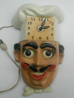 Vintage kooky chef wall clock with moving eyes!