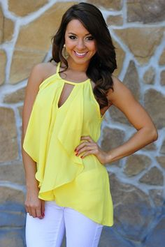 Sunshine flowy yellow top, white jeans