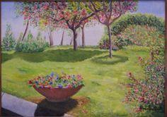 Napoli giardini in piazza del castello Opera dipinta dal vero ad olio su tela. Dim. cm 50 x cm 70