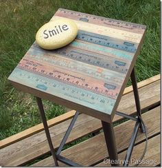 Redo the top of an old broken stool with yardsticks~ then paint them fun colors.