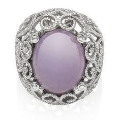 Purple Jade Filigree Ring in Sterling Silver available at #HelzbergDiamonds