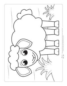 Farm Animals Coloring Pages for Kids - Itsy Bitsy Fun : A sheep coloring page for kids. Farm Animal Coloring Pages, Coloring Sheets For Kids, Bible Coloring Pages, Coloring Books, Kids Coloring, Coloring Pictures For Kids, Fairy Coloring, Farm Animal Crafts, Sheep Crafts