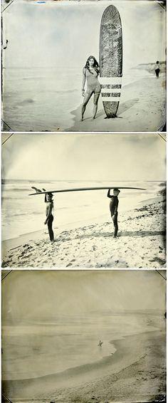 Beautiful vintage-style surf photography by Joni Sternbach. Le Grand Bleu, Divas, Alana Blanchard, Vintage Surf, Hang Ten, Longboarding, Surf Style, Surfs Up, Plein Air