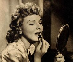 1940s-lipstick-tutorial-with-Mary-Martin. Mary Martin, dainty Paramount star, uses a natural-colored lipstick with her attractive new blonde locks.