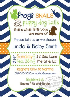Frogs Snails and Puppy Dog Tails  Boy Baby Shower by SophiasThings, $15.00