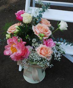 Jug of beautiful flowers for outside the Orangery at Barton Hall wedding venue www.fieldgateflowers.co.uk