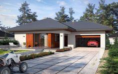 #projekt #dom #jednorodzinny #parterowy #nowoczesna #elewacja #czteropokojowy #garaż #dwustanowiskowy #taras #od #południa