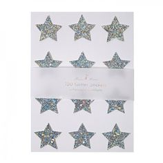 Meri Meri Chunky Silver Glitter Star Stickers