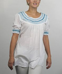 Another great find on #zulily! Turquoise Embroidered Sunrise Top #zulilyfinds