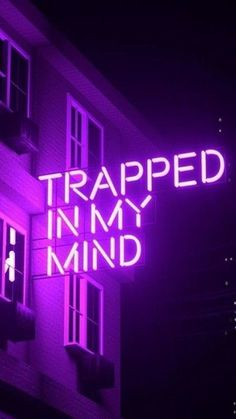 Purple Aesthetic Discover Trapped In My Mind Trapped In My Mind by Nick Kemptontrapped in my mind - purple neon sign Violet Aesthetic, Dark Purple Aesthetic, Lavender Aesthetic, Aesthetic Colors, Aesthetic Grunge, Aesthetic Vintage, Aesthetic Pictures, Neon Purple, Purple Walls