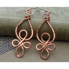 Celtic Loops Copper Wire Earrings - Celtic Knot Jewelry - dangle,... ($18) ❤ liked on Polyvore