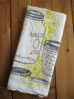 Screen Printed Mason Jar Towels