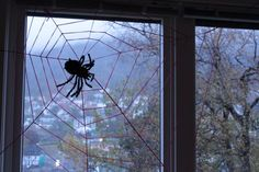 Here's our version of the cobweb made from yarn. I love it!