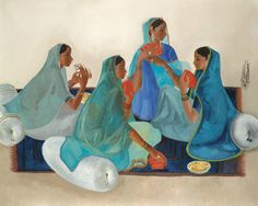 B. Prabha (Indian, 1933-2001) ~ Women Playing Cards ~ B. Prabha was a major Indian artist who worked mainly in oil, in an instantly recognizable style. She is best known for graceful elongated figures of pensive rural women, with each canvas in a single dominant color.