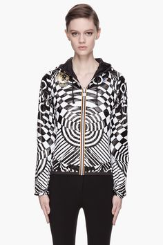 Versus White Geometric Patterned Reversible K_way Jacket in Black (white) | Lyst