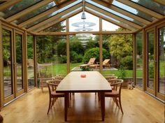 Contemporary style seasoned oak conservatory by @Richmond Oak
