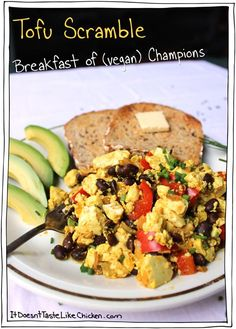 The Breakfast of (vegan) Champions! Tofu Scramble. The classic hearty vegan breakfast or brunch recipe.  #itdoesnttastelikechicken
