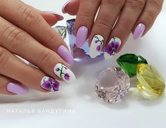 Nail art Christmas - the festive spirit on the nails. Over 70 creative ideas and tutorials - My Nails Cute Nails, Pretty Nails, My Nails, Spring Nails, Summer Nails, Nail Selection, Feather Nails, Stylish Nails, Purple Nails