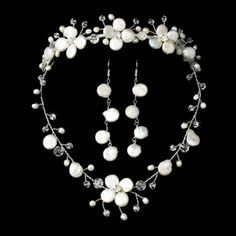 Freshwater Pearl & Crystal Bridal Jewelry & Tiara Set