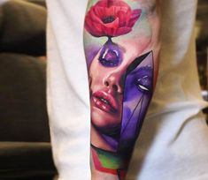 Face with wild poppy tattoo by Dave Paulo