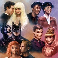Splash!: Allen + Madison Batman Returns: Selina + Bruce Fifth Element: LeeLoo + Korben I dream of Jeannie: Tony + Jeannie