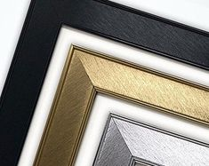 16x16'' / 14x14'' / 12x12'' / | Etsy Mirrored Picture Frames, Square Photos, Brushed Metal, Shades Of Gold, Poster Pictures, Black Gold, Modern Prints, A5, Platform