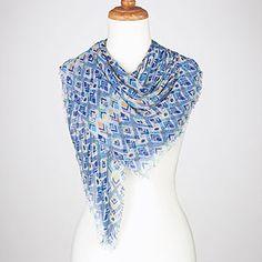 blue diamond-print square scarf - world market