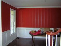 Decorative Striping Paint Finish:  The builder's white color didn't do justice to this beautiful formal dining room, so Colleen decided to add some drama to it.   Taking a clue from the