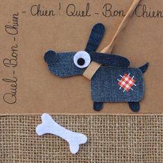 Quel bon chien ! Recyclage des pantalons   #jeans #recycle http://pinterest.com/fleurysylvie/mes-creas-la-collec/