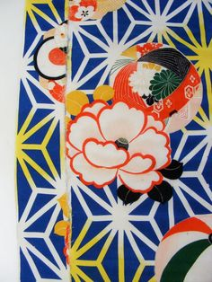 Vintage Japanese kimono fabric panel Blue Hemp Leaf by kimonomomo