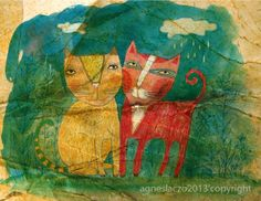 Agnes Laczo: Bobri and Kugro Nursery Art, Illustration Art, Graphic Design, Rustic, Art Prints, Cats, Artwork, Painting, Vintage