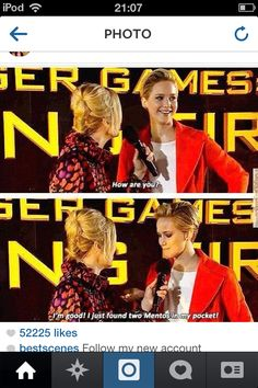 Hunger Games funny Jennifer Lawrence is hilarious
