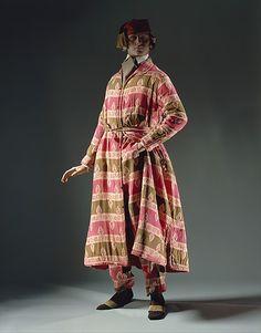 Man's lounge suit; wool, silk, cotton; American; ca late 1840s. Note the smoking hat. MET