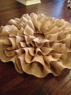 Burlap Ruffle Christmas Tree Skirt
