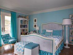 Vibrant Traditional, Coddington Design, Girl's Bedroom, turquoise bedroom, turquoise bedroom, custom bed, jonathan adler chair, jonathan adler zig zag throw, turquoise drapery, white floor lamp