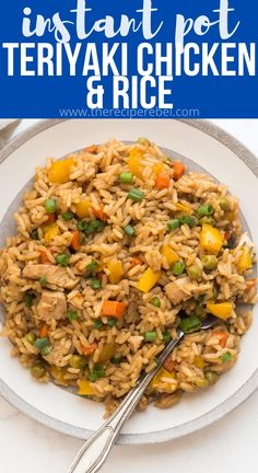 This Instant Pot Teriyaki Chicken and Rice is an easy dinner recipe made completely in one pot! Loaded with vegetables and covered in a sweet, tangy teriyaki sauce that cooks all together. A healthy dinner that comes together in minutes with no extra pots! #instantpot #chicken #recipes | easy instant pot recipes | chicken dinner | chicken and rice | healthy dinner | easy recipes | pressure cooker Teriyaki Chicken And Rice, Chicken Rice Recipes, Teriyaki Sauce, Rice Cooker Recipes, Pressure Cooker Recipes, Chicken Meals, Pressure Cooking, Easy Recipes, Asian Recipes