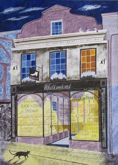 'Watkinsons (Cordwainers)' by Emily Sutton (watercolour) Museum Of Childhood, Shop Fronts, Illustrations Posters, Watercolor, Architecture, Drawings, Calander, Illustration Artists, Nocturne