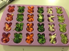 Homemade rabbit treat! Frozen fruits and veggies! Just cut up favorite treats into silicone mold then fill with goodies and water then freeze overnight. Great thing to keep bunnies cool during the summer!