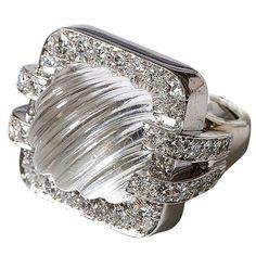DAVID WEBB Rock crystal & diamond ring