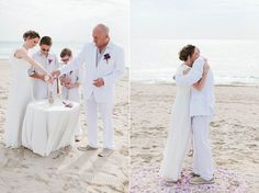 Intimate wedding on South Beach in Miami Beach, Florida. Family sand ceremony and photography by Small Miami Weddings. www.smallmiamiweddings.com